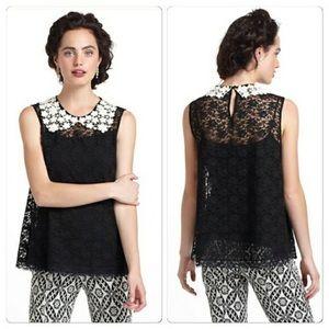 Anthropologie Eloise black lace blouse